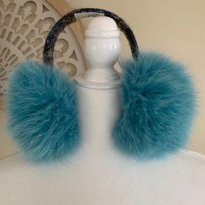 Lola Tweed Fox Fur Earmuffs Blue Size OS